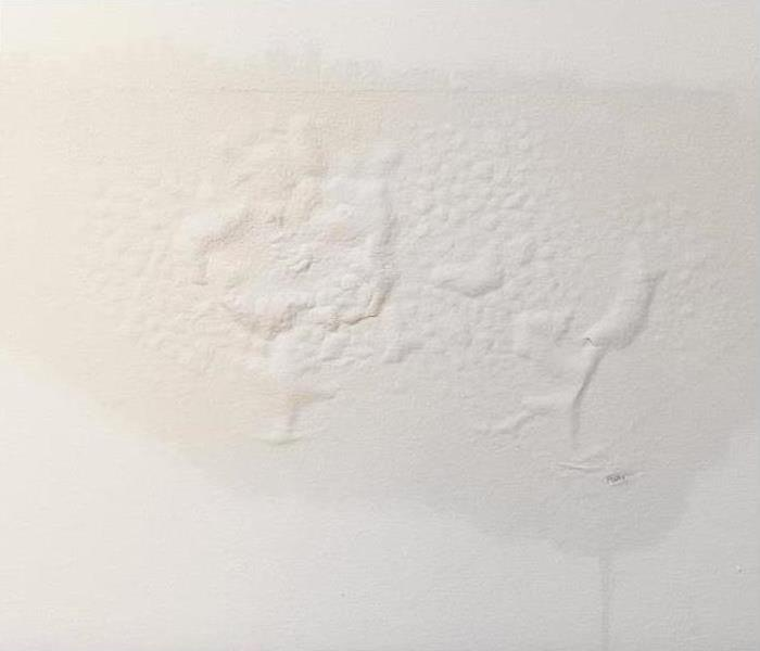 water damaged ceiling; paint bubbling and water stain showing