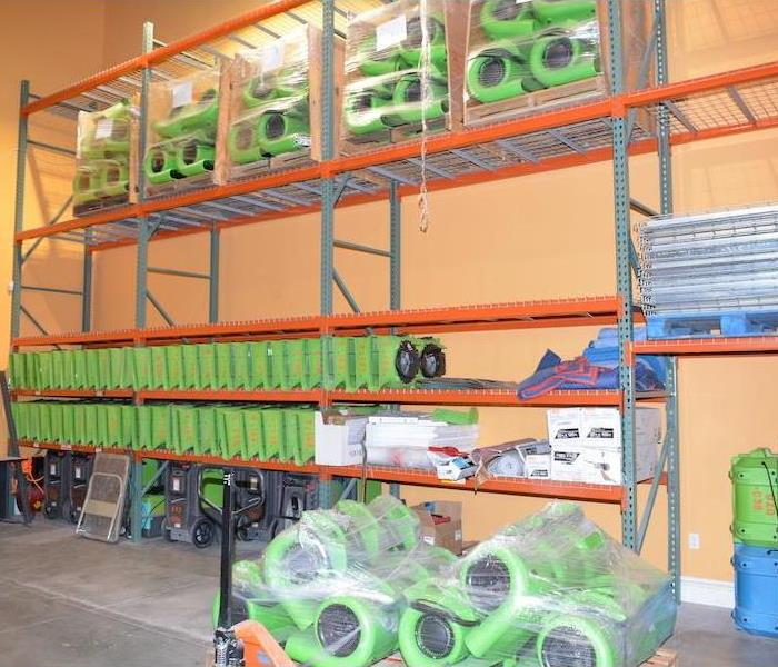 SERVPRO warehouse loaded with equipment for any size job.