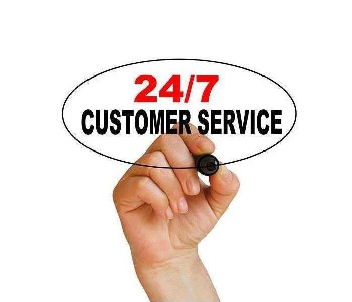 hand and pen writing '24/7 customer service'
