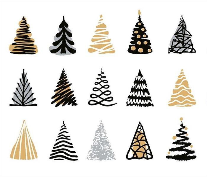 An array of different cartoonish Christmas trees.